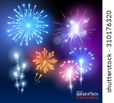 a set of various firework... | Shutterstock .eps vector #310176320