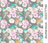 sweet painted floral print  ... | Shutterstock .eps vector #310177760
