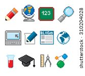 education and science icons set.... | Shutterstock .eps vector #310204028