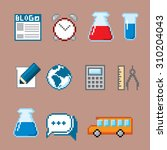 education and science icons set.... | Shutterstock .eps vector #310204043
