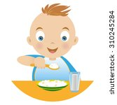 boy having breakfast   holding... | Shutterstock .eps vector #310245284