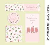 homemade strawberry jam set.... | Shutterstock .eps vector #310245488