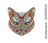 colorful decorative cat on a... | Shutterstock .eps vector #310250414