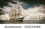 Sailing Ships.  Toned Image An...