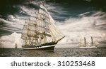 Sailing Ships.  Toned Image An...
