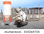 Cement Mixer Truck Parked In...
