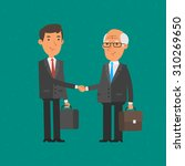young and old businessman shake ...   Shutterstock .eps vector #310269650