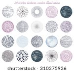Stock vector collection of twenty circles texture abstraction vector illustration 310275926