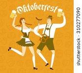 cute cartoon bavarian man and... | Shutterstock .eps vector #310277090