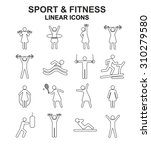fitness and sport linear icons... | Shutterstock . vector #310279580