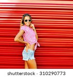 young beautiful happy stylish... | Shutterstock . vector #310290773