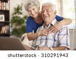 happy grandparents using their... | Shutterstock . vector #310291943