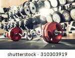 weight in gym room  close up... | Shutterstock . vector #310303919