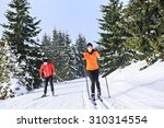 a woman cross country skiing in ... | Shutterstock . vector #310314554