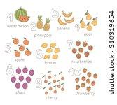 vector cartoon fruits and... | Shutterstock .eps vector #310319654