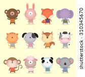 illustration of cute animals... | Shutterstock .eps vector #310345670