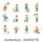 happy kid avatars playing... | Shutterstock . vector #310354778