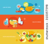 healthy eating flat banner set... | Shutterstock . vector #310357598