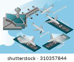 airport decorative icons... | Shutterstock . vector #310357844