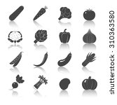 vegetables black icons set with ... | Shutterstock . vector #310363580