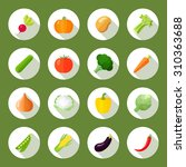 vegetables icons flat set with... | Shutterstock . vector #310363688
