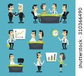 office workers flat set with... | Shutterstock . vector #310366490