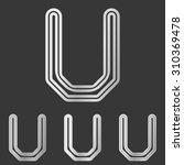 silver line u logo design set