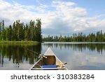 aluminum canoe with fishing... | Shutterstock . vector #310383284