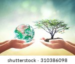 earth day concept  two human...   Shutterstock . vector #310386098
