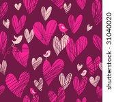 cute cartoon hearts   seamless... | Shutterstock . vector #31040020