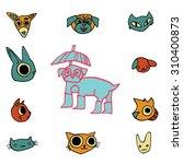 vector cartoon flat animals set ...