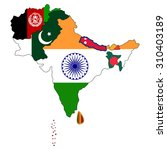 south asia flag map | Shutterstock .eps vector #310403189