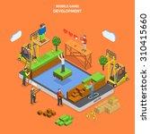 mobile game development flat... | Shutterstock .eps vector #310415660