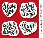set of hand lettering stickers... | Shutterstock .eps vector #310497038