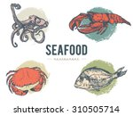 seafood nautical vector set | Shutterstock .eps vector #310505714