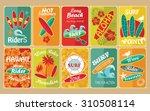 set of retro surfing... | Shutterstock . vector #310508114