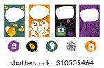 set of 4 halloween cards and...   Shutterstock .eps vector #310509464