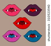 vector vampire lips in pop art... | Shutterstock .eps vector #310523540