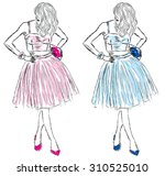 girls in dresses of blue and... | Shutterstock .eps vector #310525010