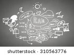 close up of man hand drawing... | Shutterstock . vector #310563776