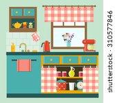 flat cozy kitchen in rustic... | Shutterstock .eps vector #310577846