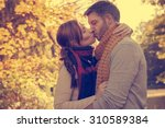 happy embracing fall seasonal... | Shutterstock . vector #310589384
