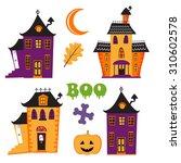 halloween set with haunted...   Shutterstock .eps vector #310602578