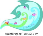 wave of fish goes with the flow ... | Shutterstock .eps vector #31061749