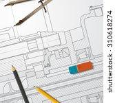 vector technical blueprint of... | Shutterstock .eps vector #310618274
