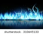 fire flame blue on black... | Shutterstock .eps vector #310645133