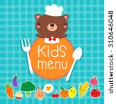 design of kids menu with cute... | Shutterstock .eps vector #310646048