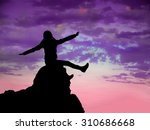 silhouette free happy girl... | Shutterstock . vector #310686668