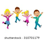 happy family jumping together...   Shutterstock .eps vector #310701179