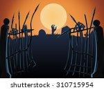 halloween cemetery gates  vector   Shutterstock .eps vector #310715954
